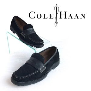 2f6e7455b82 Cole Haan Womens 6 Monroe Penny Loafer Black Suede